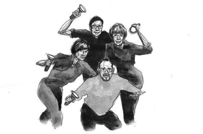 Team Junges Theater, v. l. Nadja Rüde, Michael Kaiser, Graham Smith, Carola Meyer (Illustration: Michael Genter)